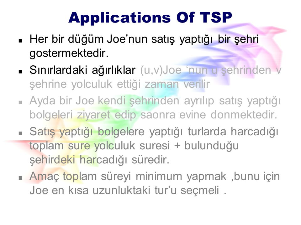 Applications Of TSP Her bir düğüm Joe'nun satış yaptığı bir şehri gostermektedir.