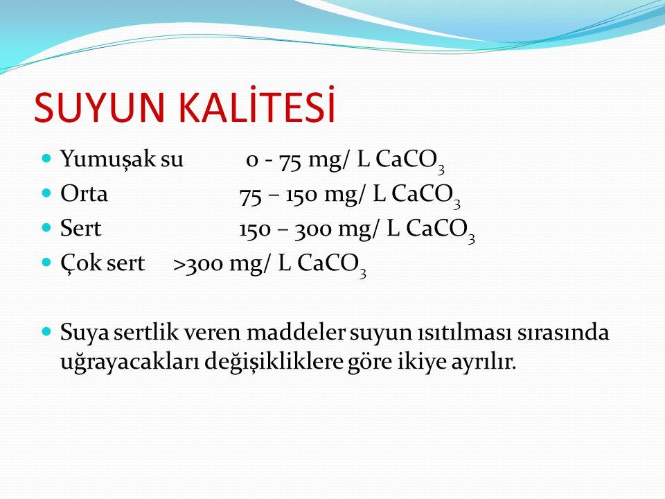 SUYUN KALİTESİ Yumuşak su 0 - 75 mg/ L CaCO3 Orta 75 – 150 mg/ L CaCO3
