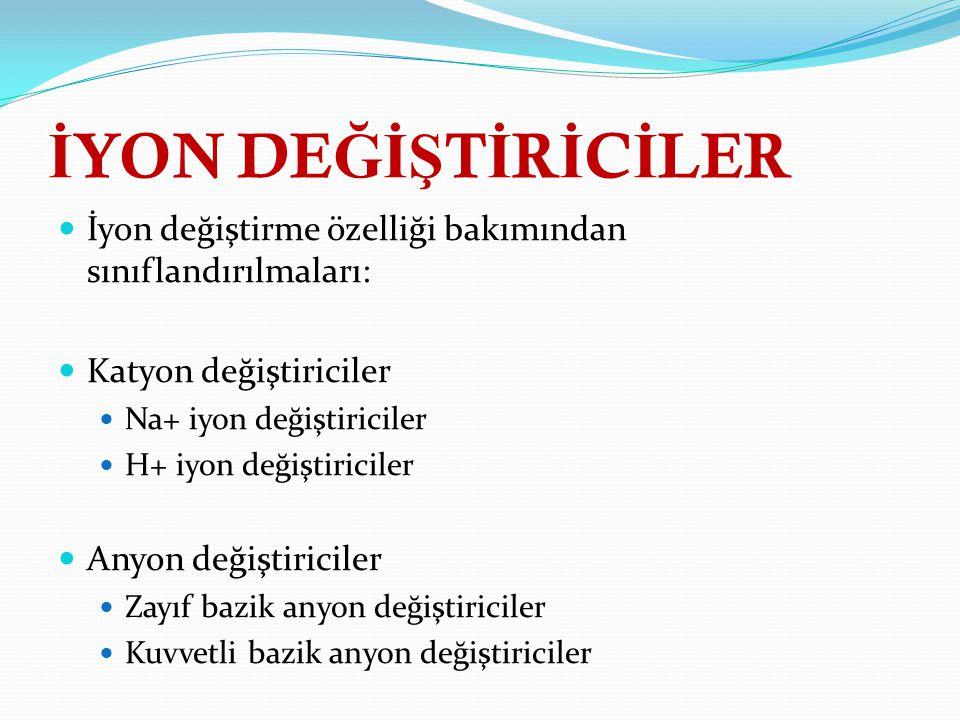İYON DEĞİŞTİRİCİLER İyon değiştirme özelliği bakımından sınıflandırılmaları: Katyon değiştiriciler.
