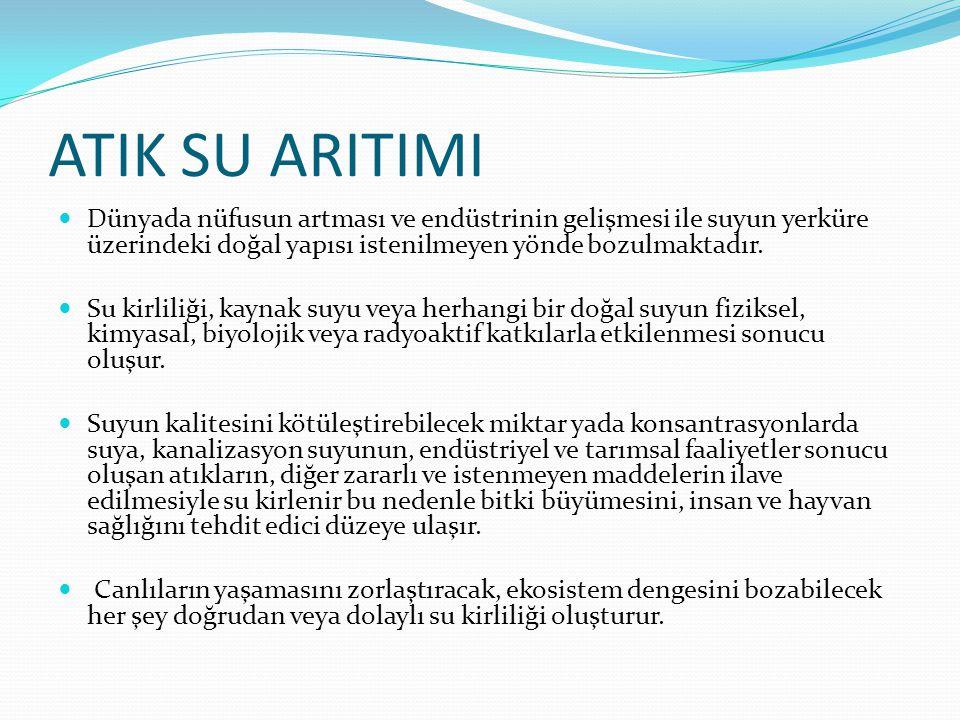 ATIK SU ARITIMI Dünyada nüfusun artması ve endüstrinin gelişmesi ile suyun yerküre üzerindeki doğal yapısı istenilmeyen yönde bozulmaktadır.