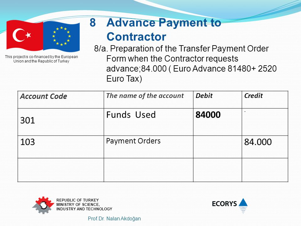 Advance Payment to Contractor