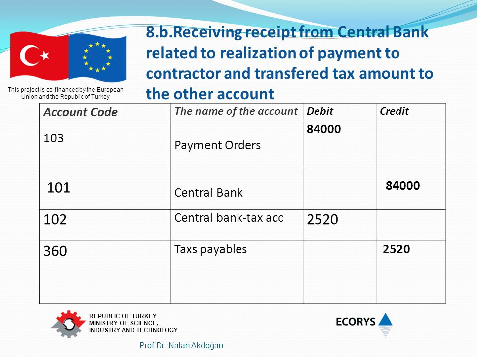 8.b.Receiving receipt from Central Bank related to realization of payment to contractor and transfered tax amount to the other account