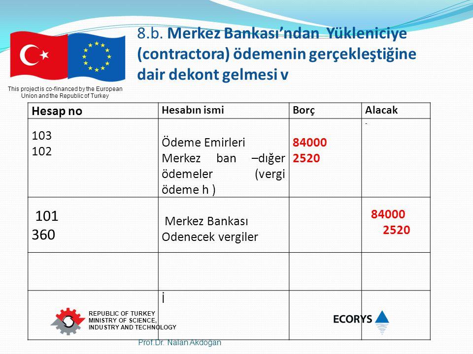 8.b. Merkez Bankası'ndan Yükleniciye (contractora) ödemenin gerçekleştiğine dair dekont gelmesi v