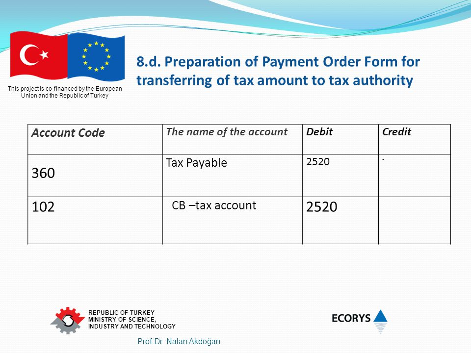 8.d. Preparation of Payment Order Form for transferring of tax amount to tax authority