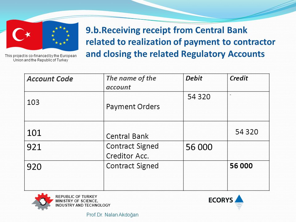 9.b.Receiving receipt from Central Bank related to realization of payment to contractor and closing the related Regulatory Accounts