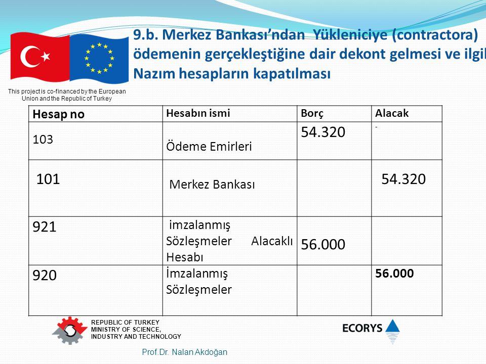 9.b. Merkez Bankası'ndan Yükleniciye (contractora) ödemenin gerçekleştiğine dair dekont gelmesi ve ilgili Nazım hesapların kapatılması