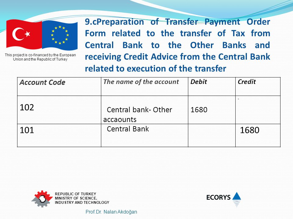 9.cPreparation of Transfer Payment Order Form related to the transfer of Tax from Central Bank to the Other Banks and receiving Credit Advice from the Central Bank related to execution of the transfer