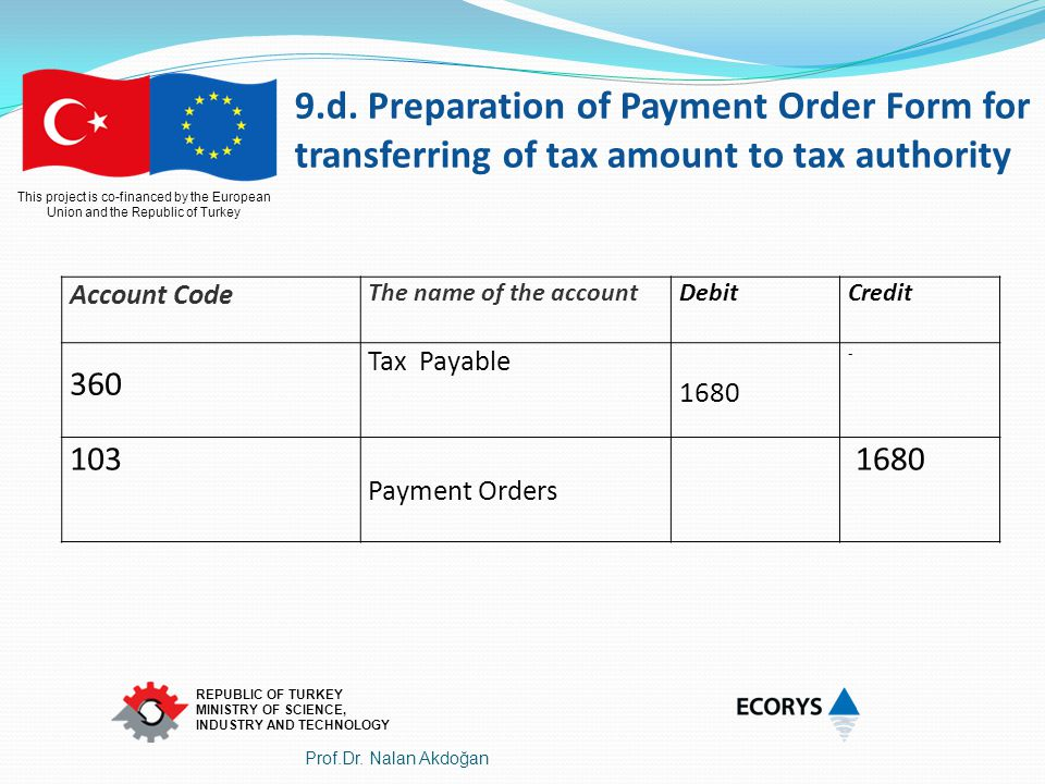 9.d. Preparation of Payment Order Form for transferring of tax amount to tax authority