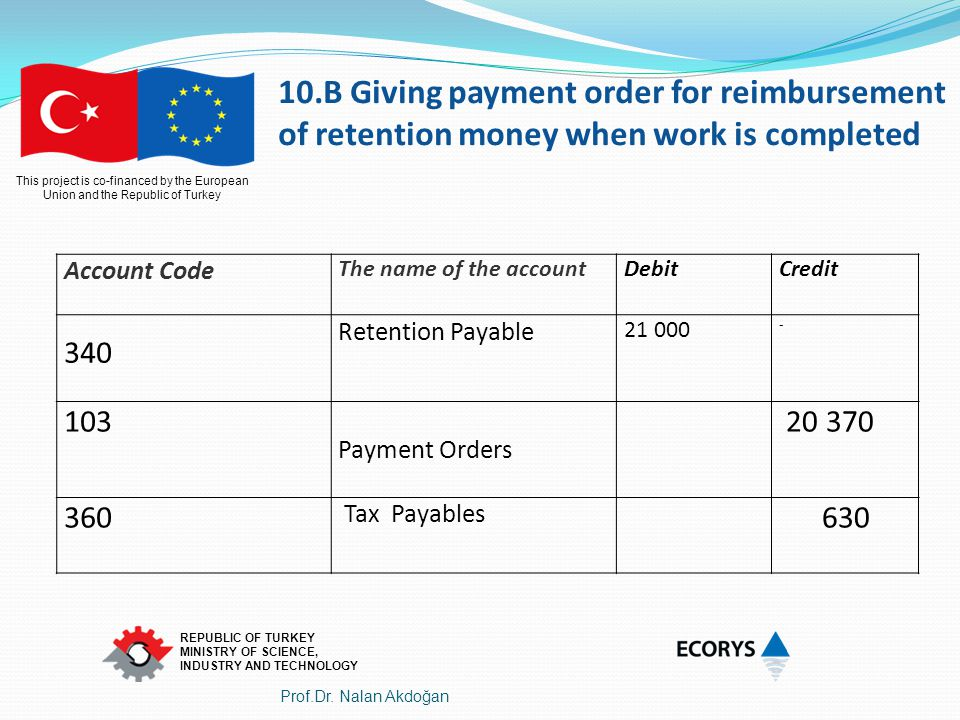10.B Giving payment order for reimbursement of retention money when work is completed