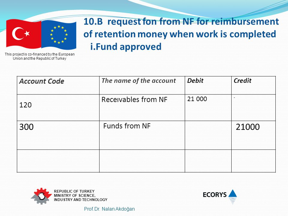 10.B request fon from NF for reimbursement of retention money when work is completed