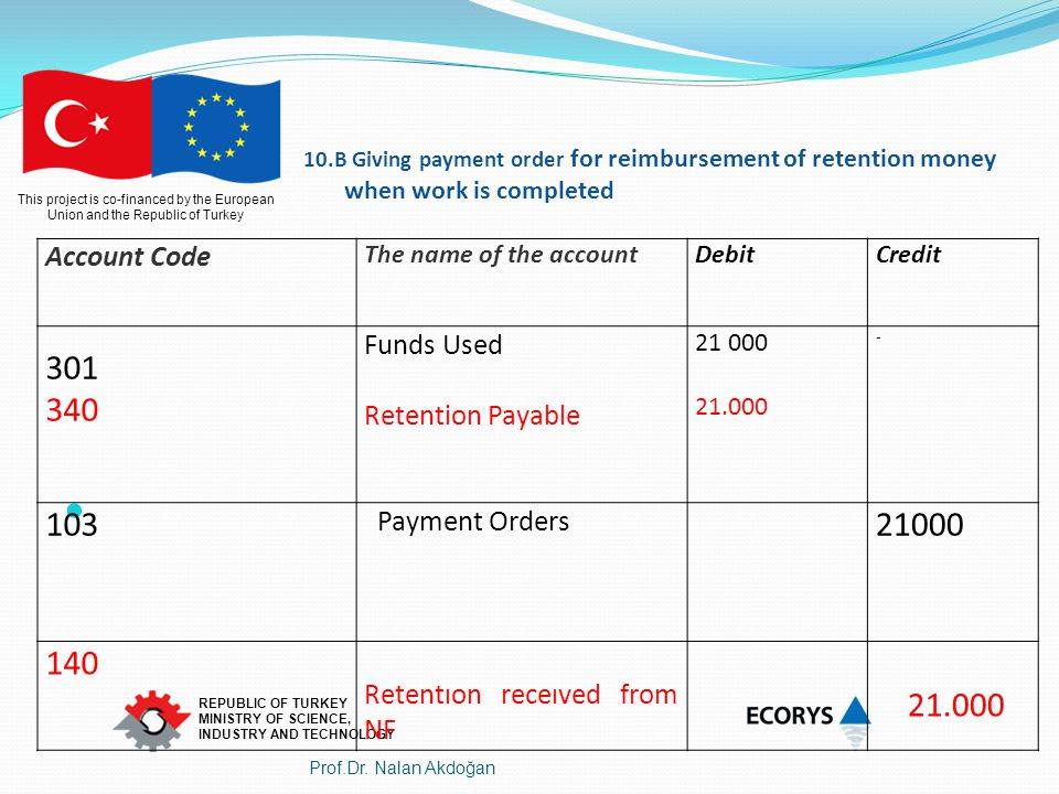 Account Code Funds Used Retention Payable