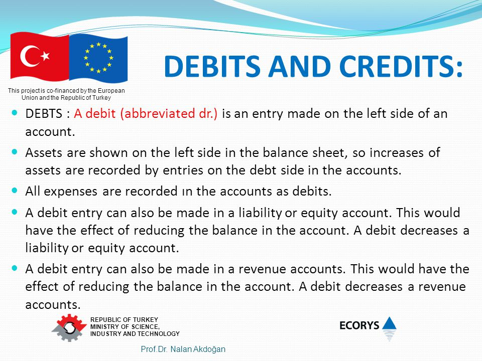 DEBITS AND CREDITS: DEBTS : A debit (abbreviated dr.) is an entry made on the left side of an account.