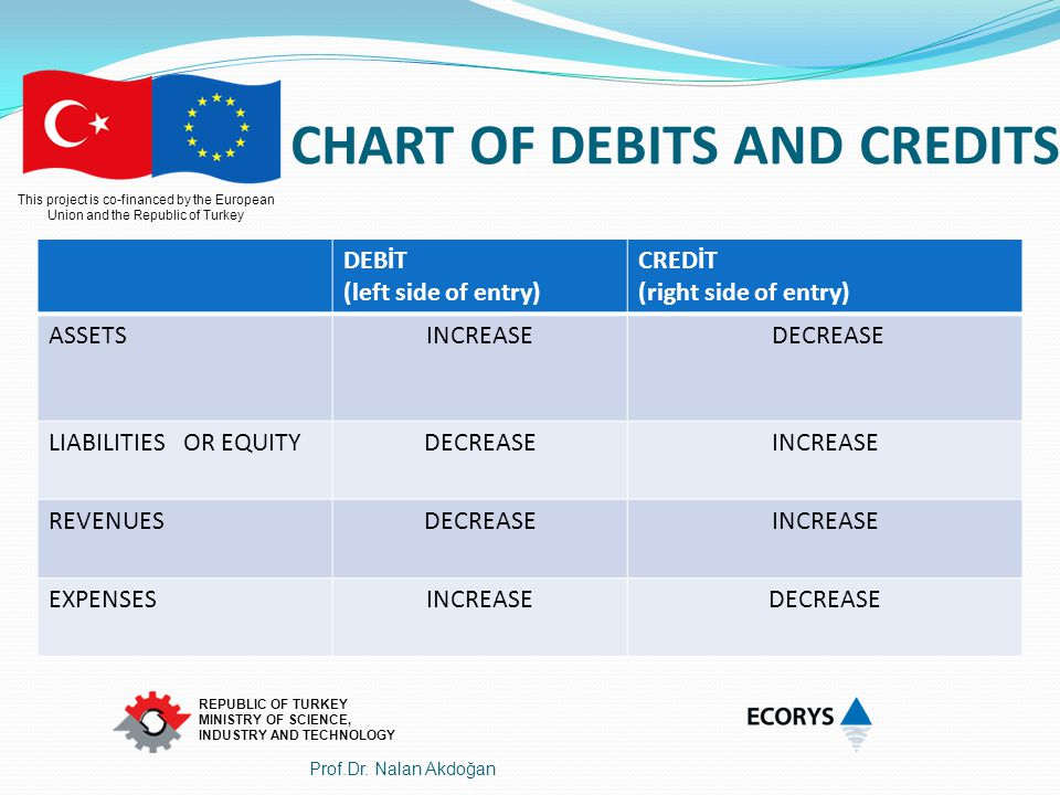CHART OF DEBITS AND CREDITS