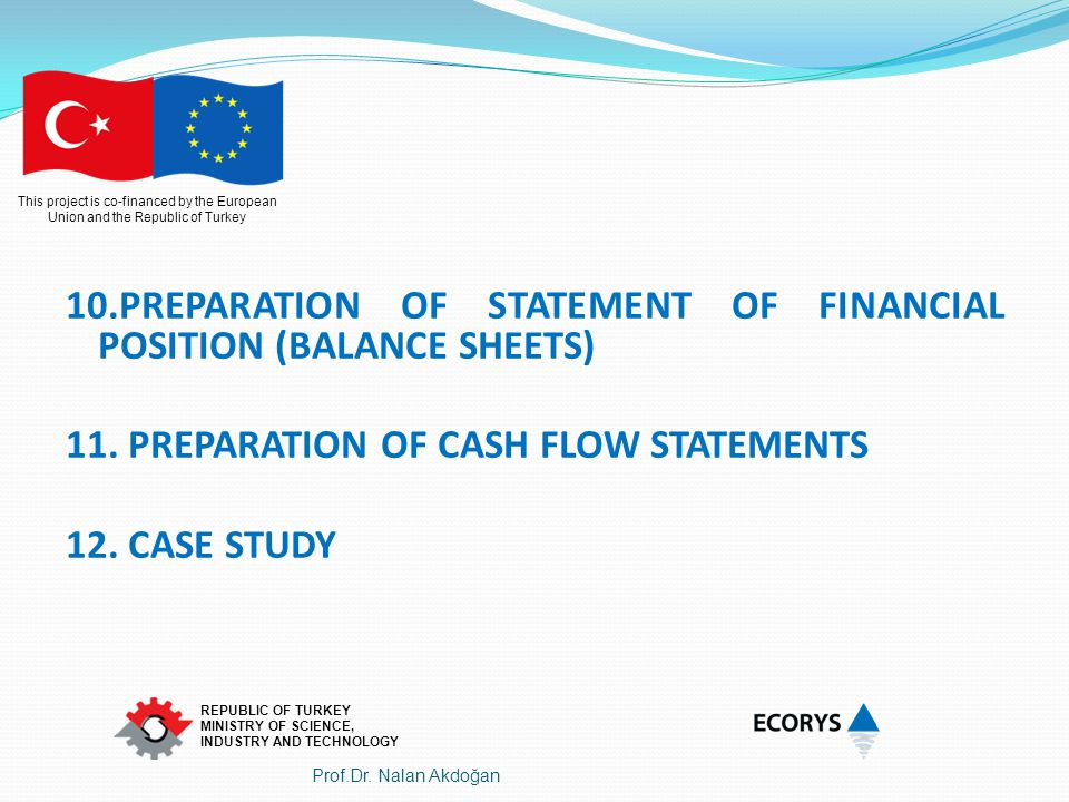 10.PREPARATION OF STATEMENT OF FINANCIAL POSITION (BALANCE SHEETS)