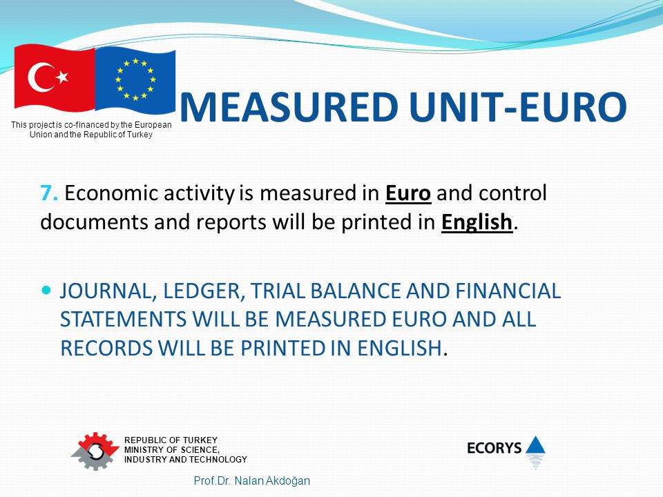 MEASURED UNIT-EURO 7. Economic activity is measured in Euro and control documents and reports will be printed in English.