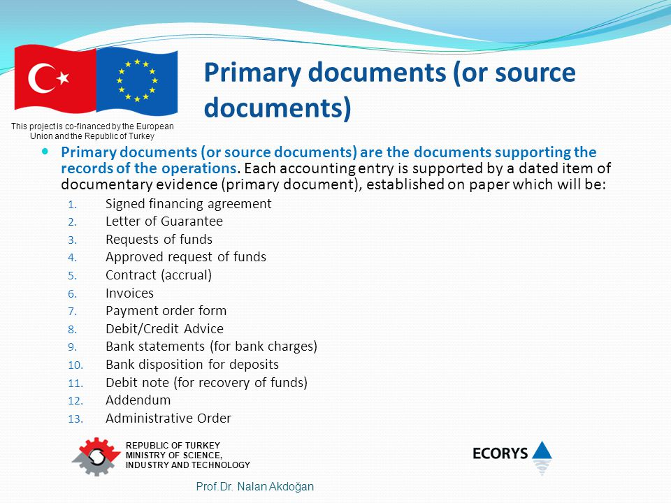 Primary documents (or source documents)