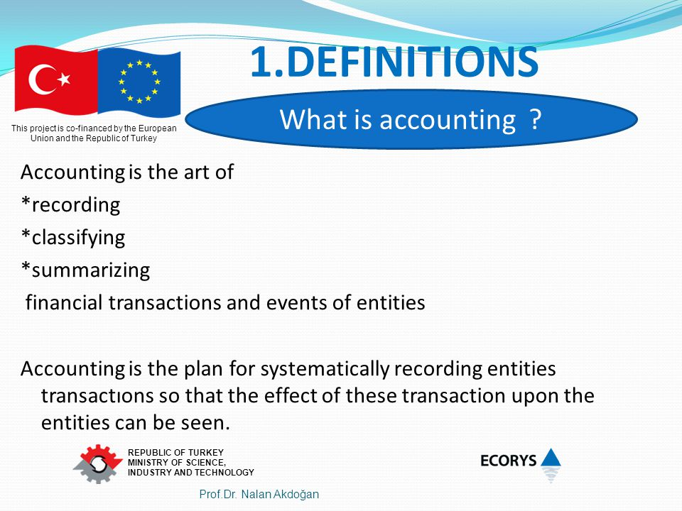 1.DEFINITIONS What is accounting Accounting is the art of *recording