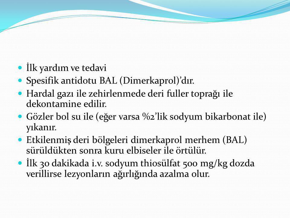 İlk yardım ve tedavi Spesifik antidotu BAL (Dimerkaprol)'dır. Hardal gazı ile zehirlenmede deri fuller toprağı ile dekontamine edilir.