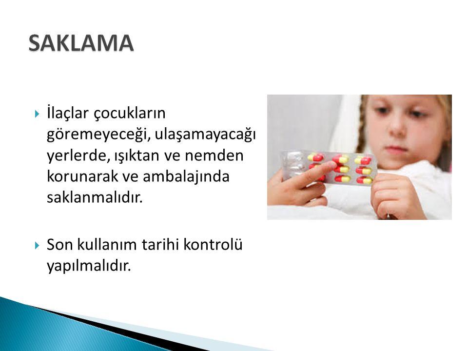 SAKLAMA İlaçlar çocukların göremeyeceği, ulaşamayacağı yerlerde, ışıktan ve nemden korunarak ve ambalajında saklanmalıdır.