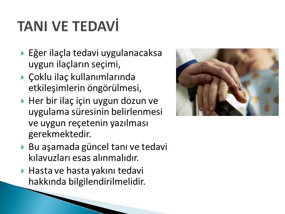 TANI VE TEDAVİ Eğer ilaçla tedavi uygulanacaksa uygun ilaçların seçimi, Çoklu ilaç kullanımlarında etkileşimlerin öngörülmesi,