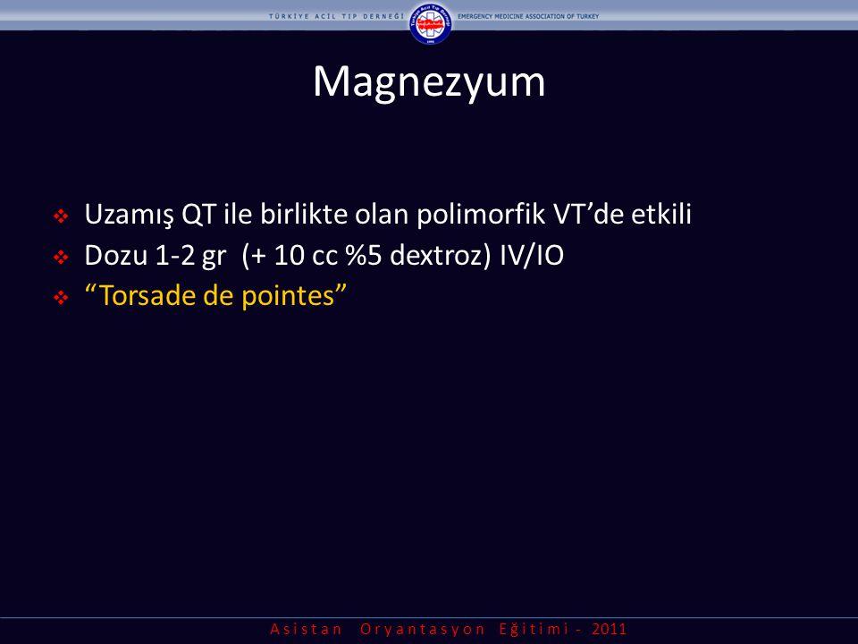 Magnezyum Uzamış QT ile birlikte olan polimorfik VT'de etkili