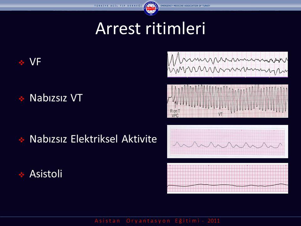 Arrest ritimleri VF Nabızsız VT Nabızsız Elektriksel Aktivite Asistoli