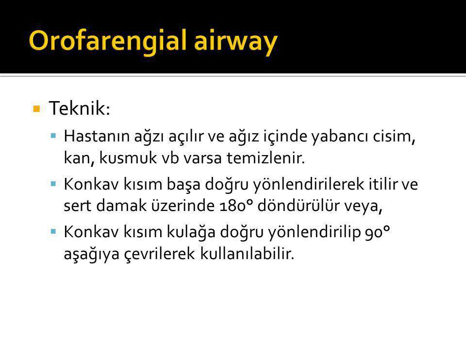 Orofarengial airway Teknik: