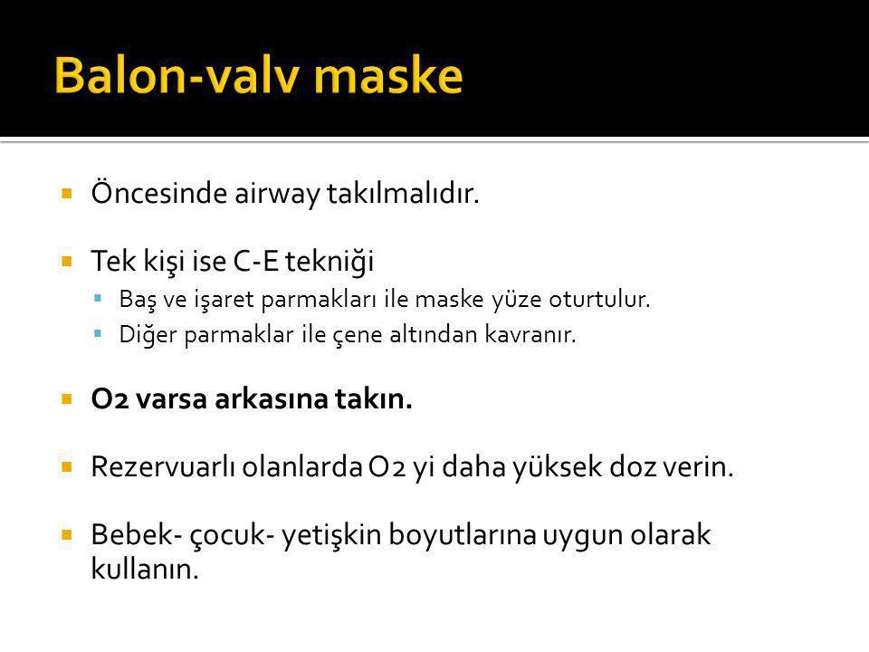 Balon-valv maske Öncesinde airway takılmalıdır.