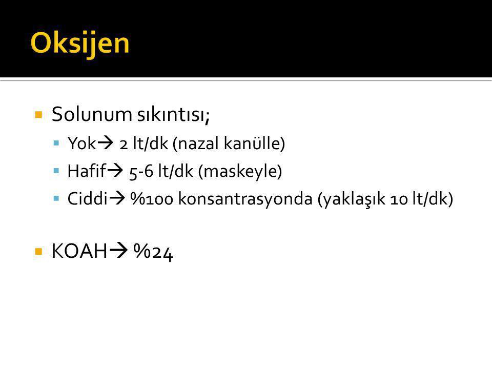 Oksijen Solunum sıkıntısı; KOAH %24 Yok 2 lt/dk (nazal kanülle)