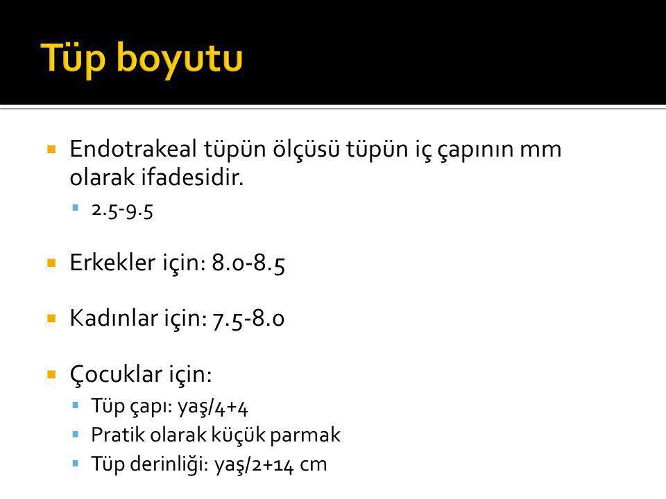 Tüp boyutu Endotrakeal tüpün ölçüsü tüpün iç çapının mm olarak ifadesidir. 2.5-9.5. Erkekler için: 8.0-8.5.
