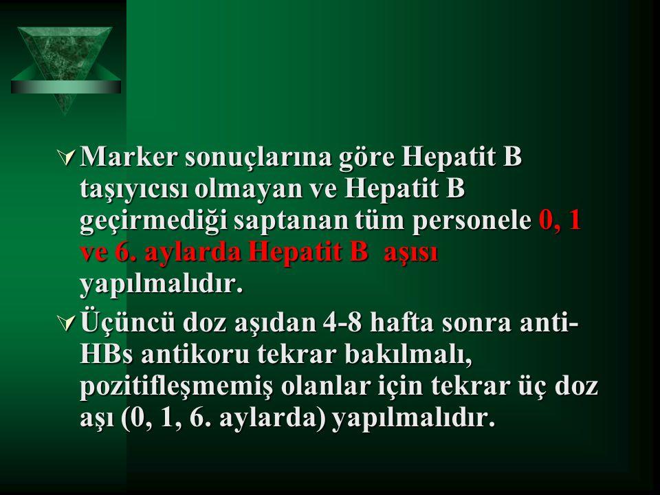 Marker sonuçlarına göre Hepatit B taşıyıcısı olmayan ve Hepatit B geçirmediği saptanan tüm personele 0, 1 ve 6. aylarda Hepatit B aşısı yapılmalıdır.