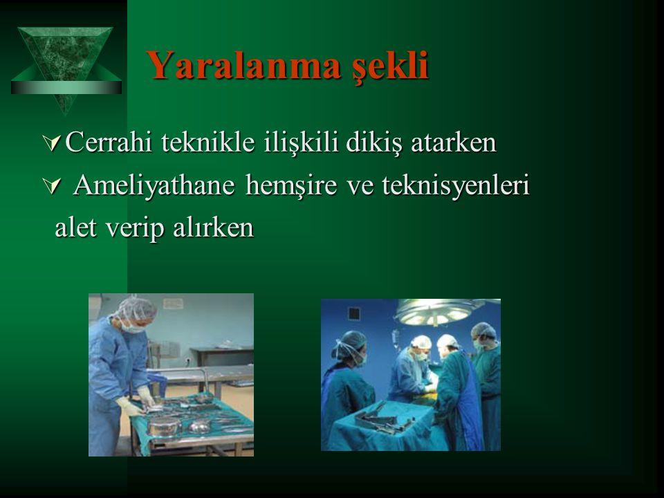 Yaralanma şekli Cerrahi teknikle ilişkili dikiş atarken