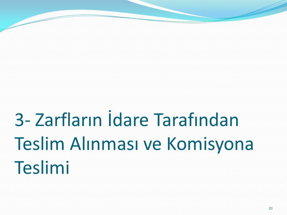 3- Zarfların İdare Tarafından Teslim Alınması ve Komisyona Teslimi