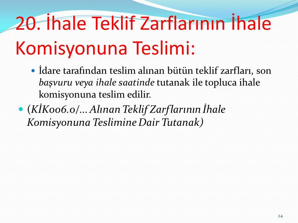 20. İhale Teklif Zarflarının İhale Komisyonuna Teslimi: