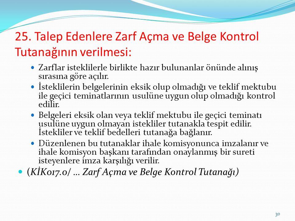 25. Talep Edenlere Zarf Açma ve Belge Kontrol Tutanağının verilmesi: