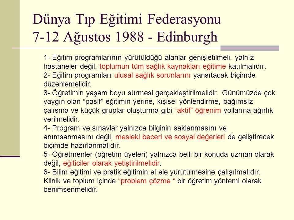 Dünya Tıp Eğitimi Federasyonu 7-12 Ağustos 1988 - Edinburgh