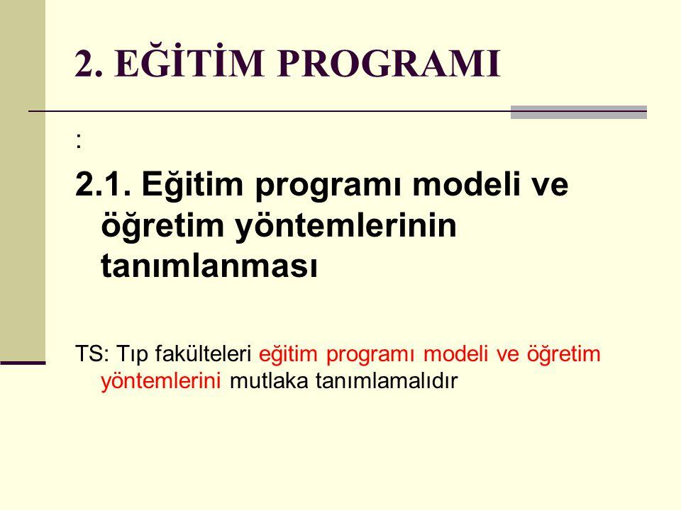 2. EĞİTİM PROGRAMI : 2.1. Eğitim programı modeli ve öğretim yöntemlerinin tanımlanması.
