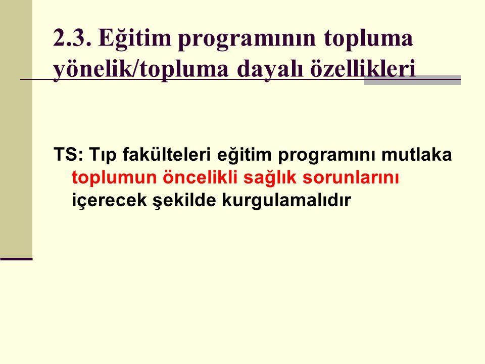 2.3. Eğitim programının topluma yönelik/topluma dayalı özellikleri