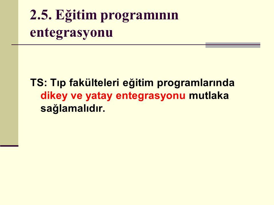 2.5. Eğitim programının entegrasyonu