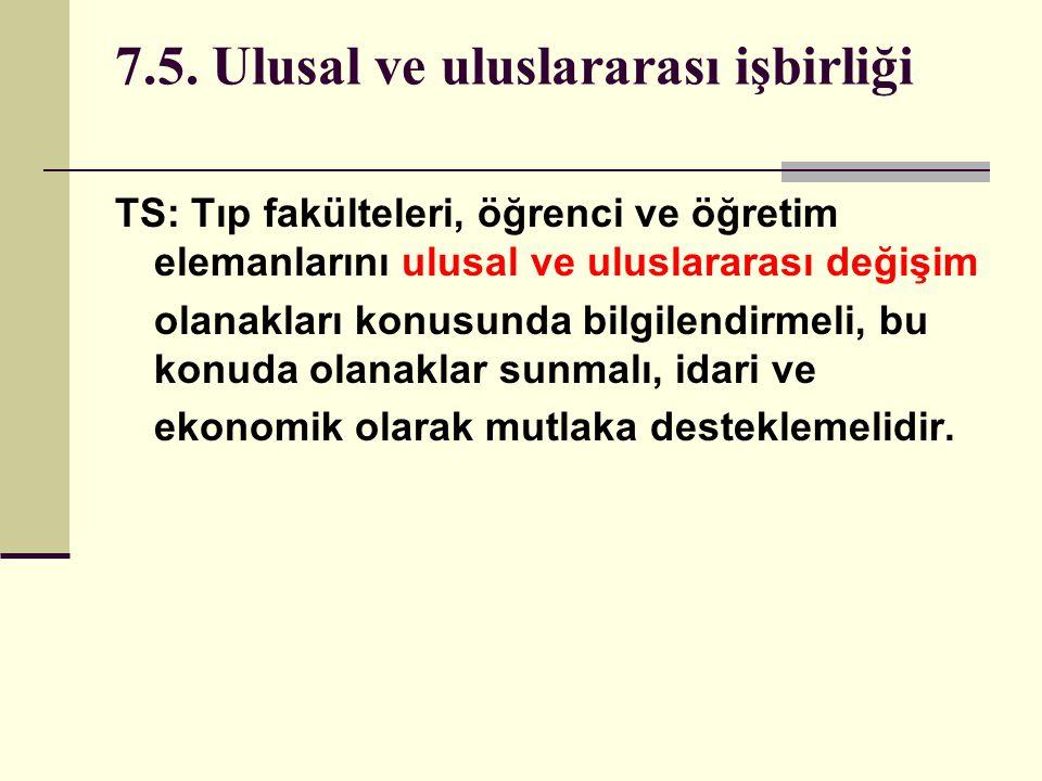 7.5. Ulusal ve uluslararası işbirliği