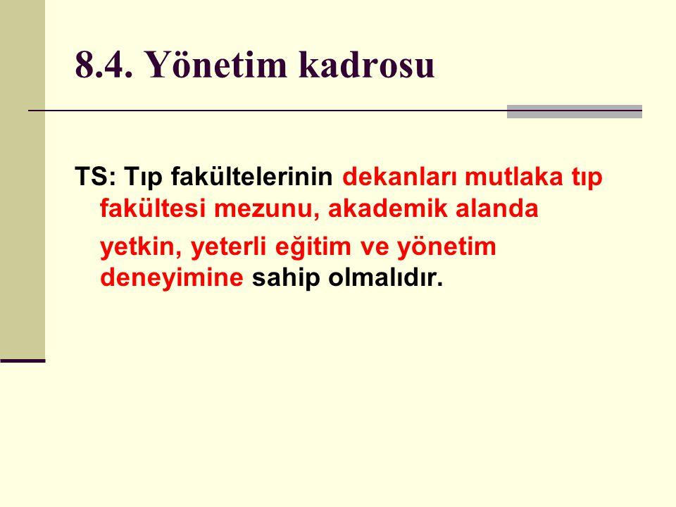 8.4. Yönetim kadrosu TS: Tıp fakültelerinin dekanları mutlaka tıp fakültesi mezunu, akademik alanda.