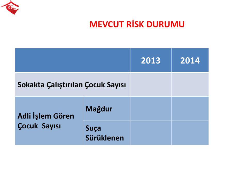 MEVCUT RİSK DURUMU 2013 2014 Sokakta Çalıştırılan Çocuk Sayısı