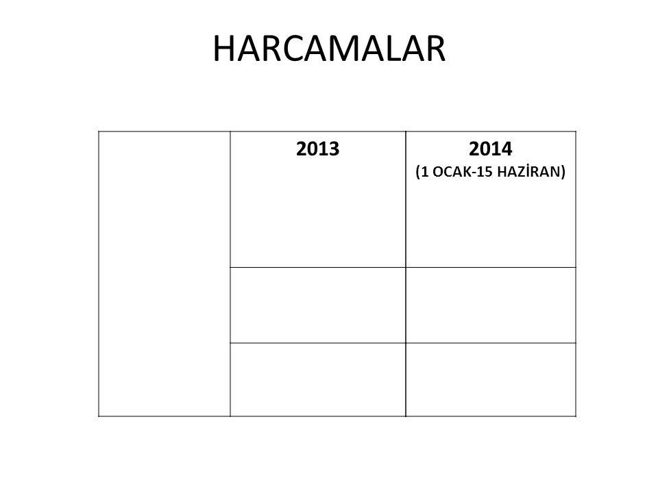 HARCAMALAR 2013 2014 (1 OCAK-15 HAZİRAN)