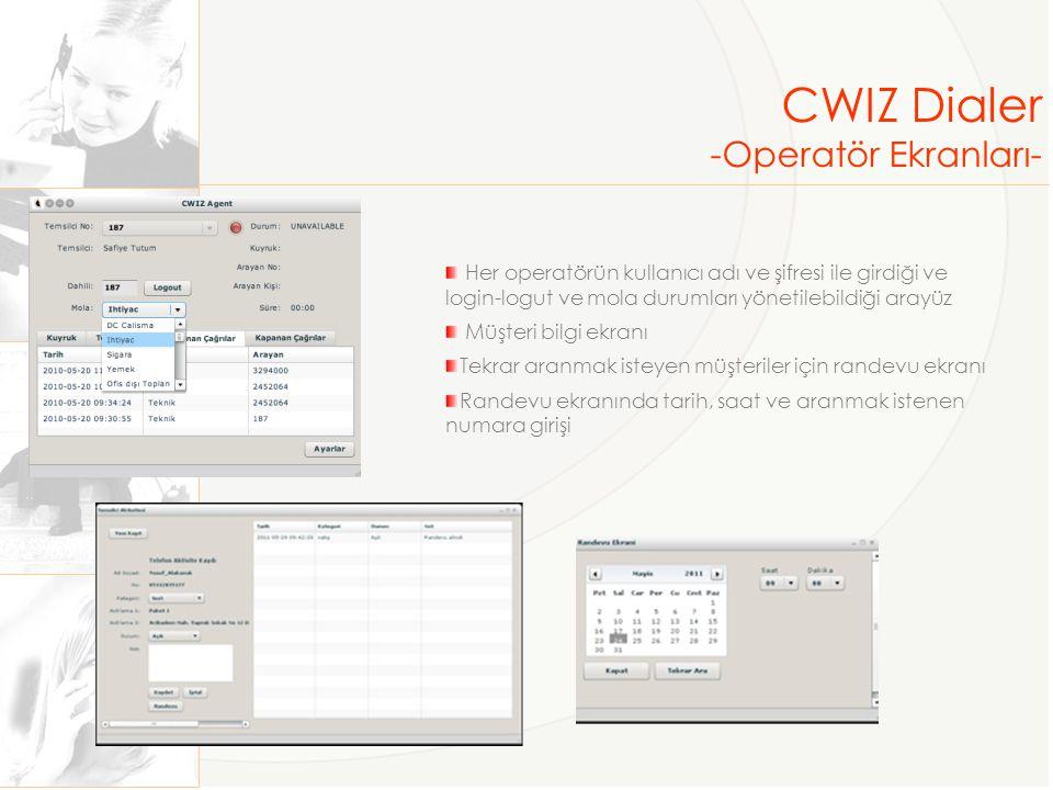 CWIZ Dialer -Operatör Ekranları-