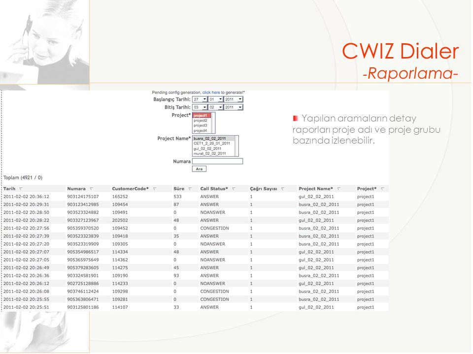 CWIZ Dialer -Raporlama-