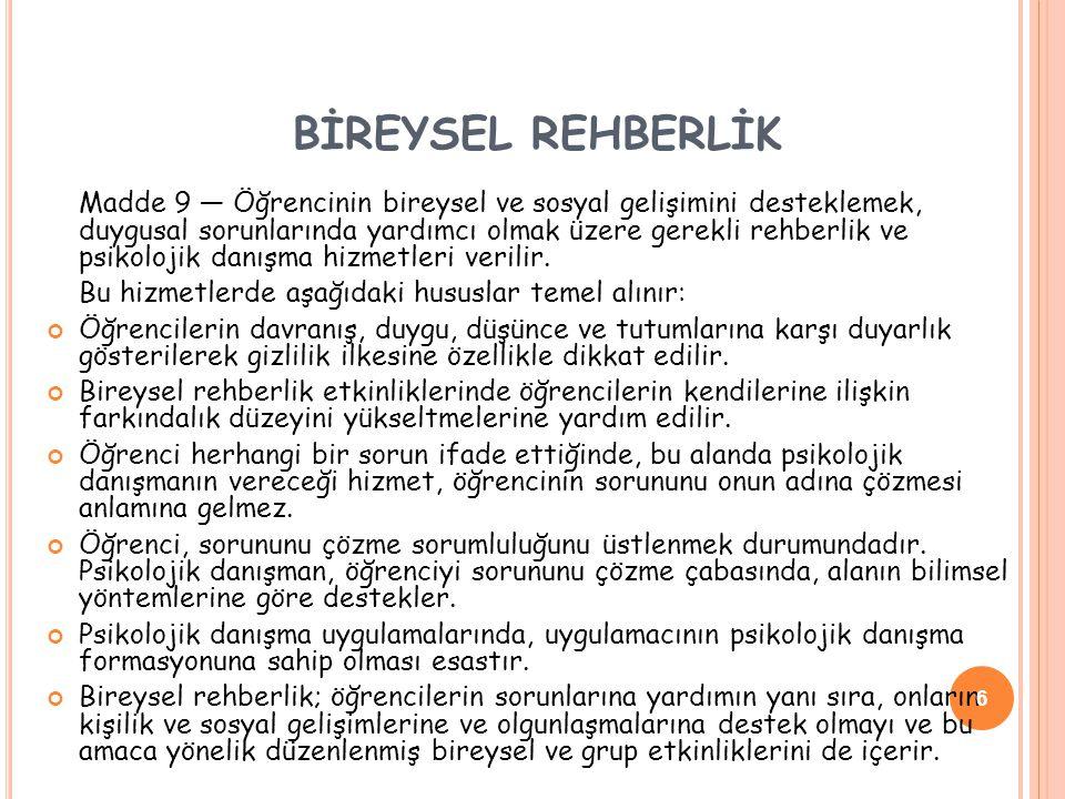 BİREYSEL REHBERLİK