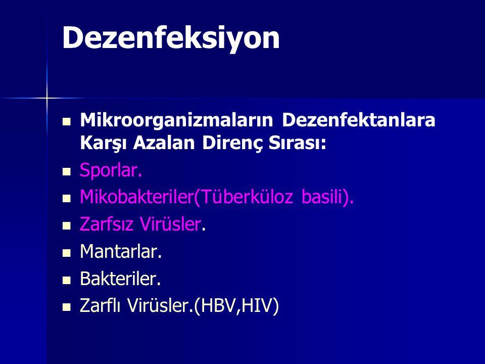 Dezenfeksiyon Mikroorganizmaların Dezenfektanlara Karşı Azalan Direnç Sırası: Sporlar. Mikobakteriler(Tüberküloz basili).
