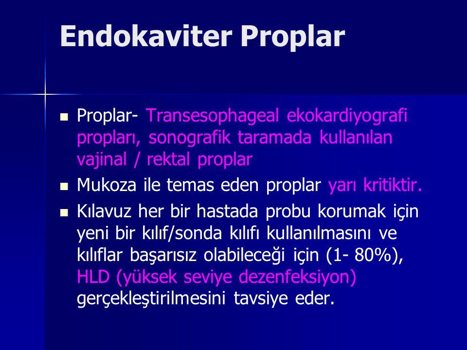Endokaviter Proplar Proplar- Transesophageal ekokardiyografi propları, sonografik taramada kullanılan vajinal / rektal proplar.
