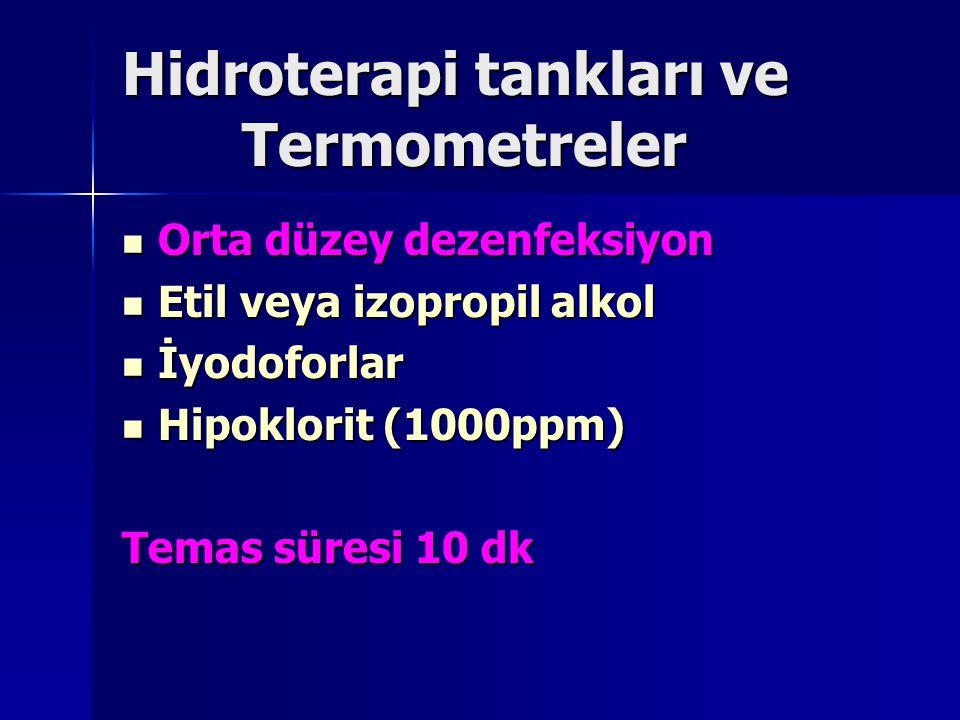 Hidroterapi tankları ve Termometreler