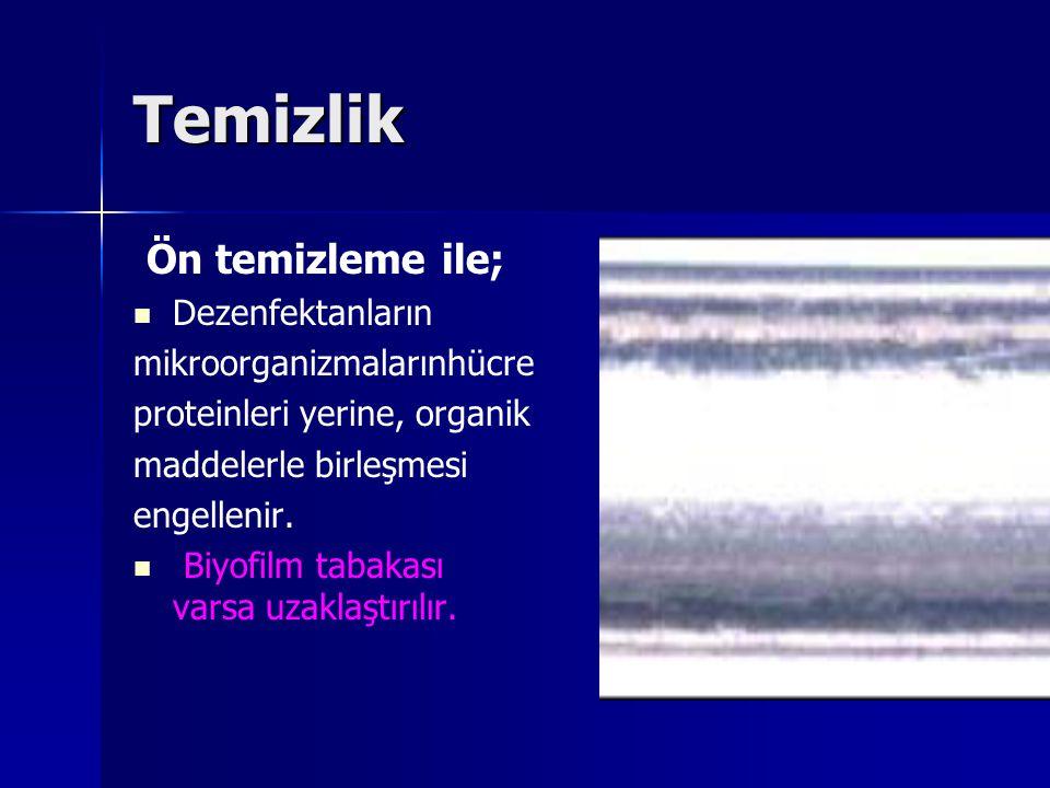 Temizlik Ön temizleme ile; Dezenfektanların mikroorganizmalarınhücre
